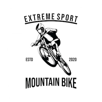 Ilustracja szablon projektu logo rower górski