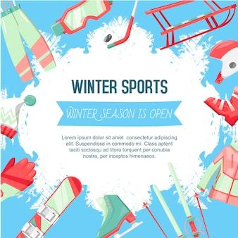 Ilustracja szablon sporty zimowe