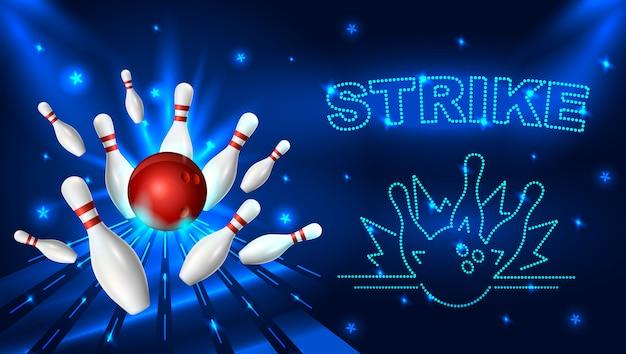 Ilustracja szablon strajku kręgle.