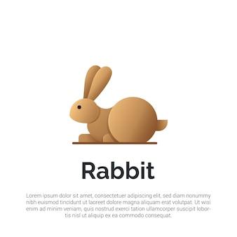 Ilustracja szablonu logo brązowy królik