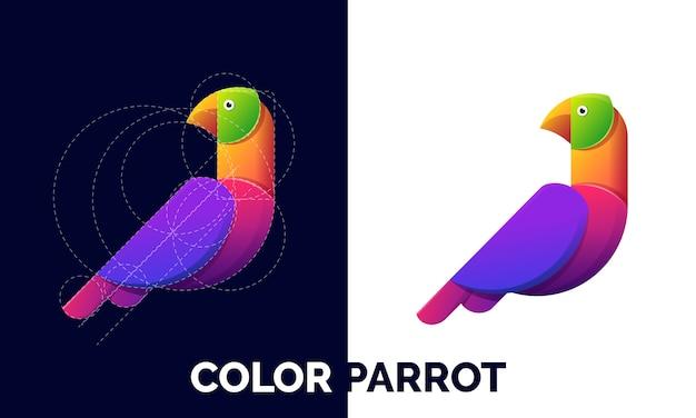 Ilustracja szablonu logo kolorowe papugi.