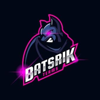 Ilustracja szablonu projektu logo nietoperza zły esport