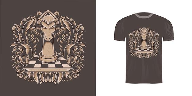 Ilustracja szachy konia na projekt koszulki