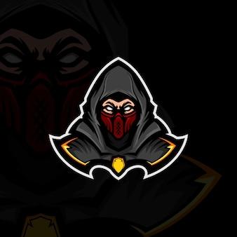 Ilustracja szarego zakapturzonego ninja noszącego czerwoną maskę