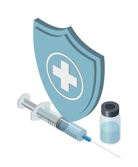 Ilustracja szczepienia izometryczny