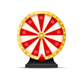 Ilustracja szczęścia loterii koła fortuny. gra hazardowa w kasynie. wygraj ruletkę z fortuną. hazard i rozrywka.