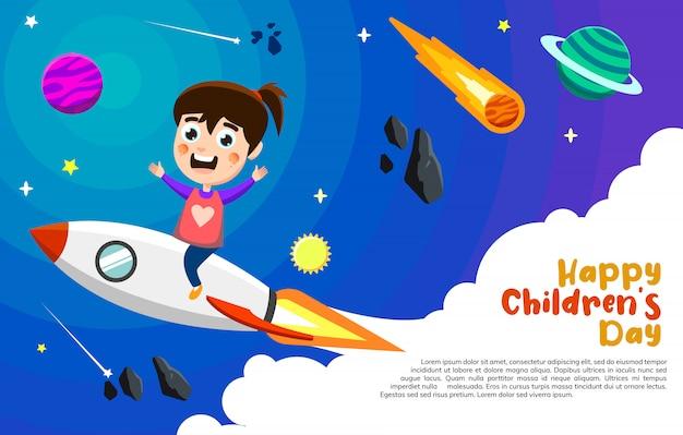 Ilustracja szczęśliwa dzieciak rakiety przejażdżka