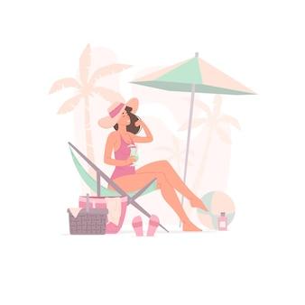 Ilustracja Szczęśliwa Kobieta Z Orzeźwiającym Napojem, Dotykając Włosów Podczas Chłodzenia Na Plaży Premium Wektorów