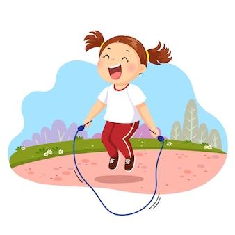Ilustracja szczęśliwa mała dziewczynka skacze przez skakankę w parku.