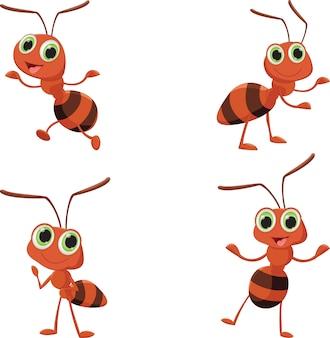 Ilustracja szczęśliwa mrówki kreskówka