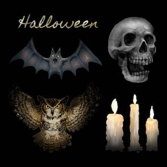 Ilustracja szczęśliwe halloweenowe ikony wektorowe