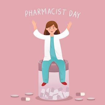 Ilustracja szczęśliwego dnia farmaceuty