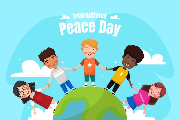 Ilustracja szczęśliwego międzynarodowego dnia pokoju