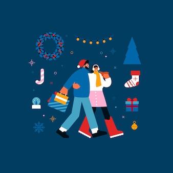 Ilustracja szczęśliwego młodego mężczyzny i kobiety z papierowymi torebkami, przytulanie i spacery wśród symboli bożego narodzenia w weekendowy dzień
