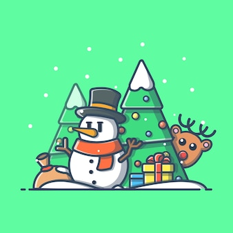 Ilustracja szczęśliwego nowego roku. bałwan w sezonie zimowym, wakacje i nowy rok ikona koncepcja białym tle