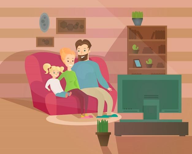Ilustracja szczęśliwego wieczoru rodzinnego. matka, ojciec i dziecko ogląda telewizję, siedząc na kanapie w domu, przytulne wnętrze w stylu kreskówki.