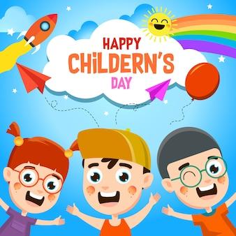 Ilustracja szczęśliwy dzień dziecka
