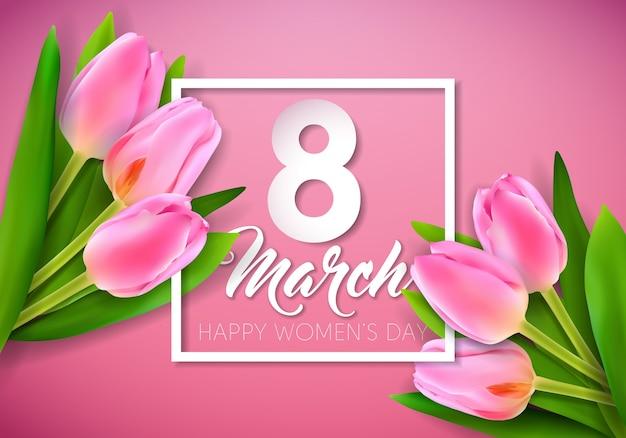 Ilustracja szczęśliwy dzień kobiet z bukietem tulipanów i 8 marca typografia list