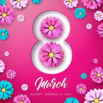 Ilustracja szczęśliwy dzień kobiet z kwiatki