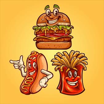 Ilustracja szczęśliwy fast food