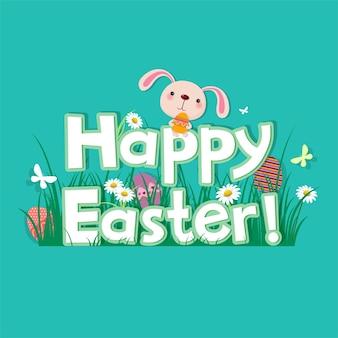 Ilustracja szczęśliwy kartkę z życzeniami wielkanocnymi z królikiem