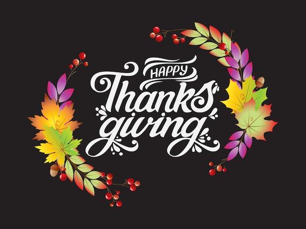 Ilustracja. szczęśliwy projekt typografii dzień dziękczynienia dla karty z pozdrowieniami i plakat na uroczystości szablon tło teksturalne tło. szczęśliwy napis święto dziękczynienia, napis.