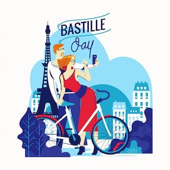 Ilustracja szczęśliwy ulotki i karty z pozdrowieniami bastille day na francuski święto narodowe