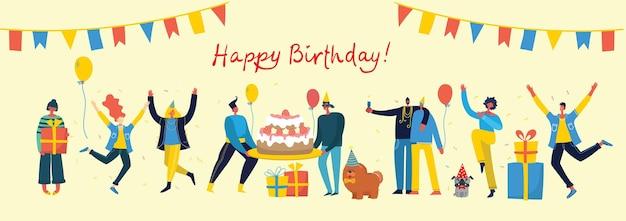 Ilustracja szczęśliwy urodziny. szczęśliwa grupa ludzi świętuje na jasnej ścianie.