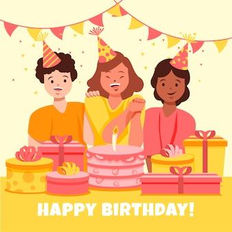 Ilustracja szczęśliwy urodziny w płaskiej konstrukcji