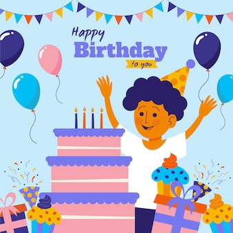 Ilustracja szczęśliwy urodziny z chłopcem i ciastem