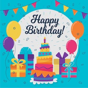 Ilustracja szczęśliwy urodziny z ciastem