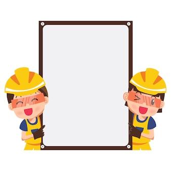 Ilustracja szczęśliwy uśmiechnięty pracownik budowlany i wskaźnik z pustym sztandarem