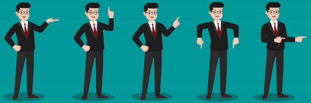 Ilustracja szczęśliwych młodych przedsiębiorców w okularach, które coś pokazują lub przedstawiają,