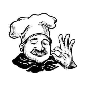 Ilustracja szefa kuchni z porządku pyszny ręka znak