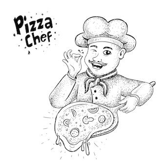 Ilustracja szefa pizzy w stylu wyciągnąć rękę