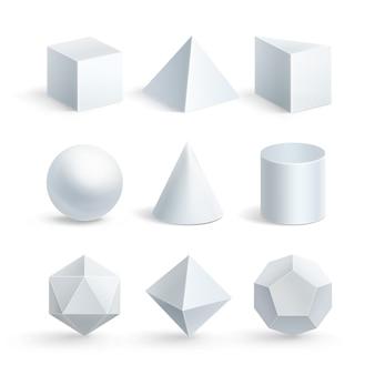 Ilustracja sześcian pryzmat stożka stożka kuli piramidy lub czworościanu