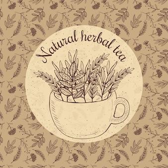 Ilustracja szkic karty - herbata ziołowa, rzemiosło
