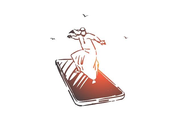 Ilustracja szkic koncepcji nowoczesnej technologii mobilnej