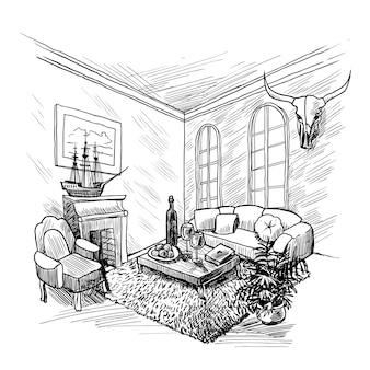 Ilustracja szkic pokoju