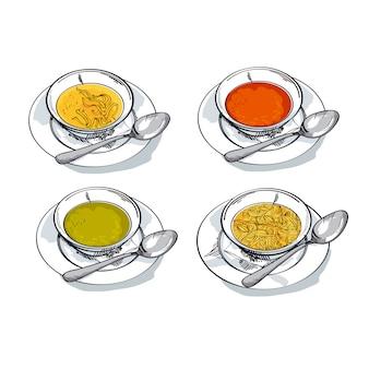 Ilustracja szkic zupa jarzynowa. mix tradycyjnych misek do posiłków