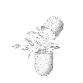 Ilustracja szkieletowa low poly ziołowej medycyny. kapsułka wielokątne z liści roślin na białym tle. medyczna pigułka sztuka siatki 3d z połączonymi kropkami. symbol przemysłu opieki zdrowotnej