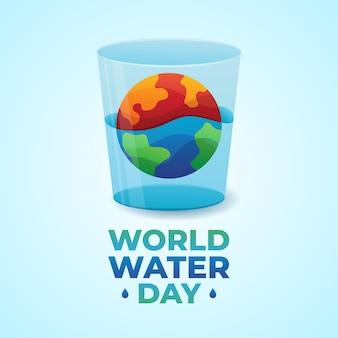 Ilustracja szkła, ziemi i wody na światowy dzień wody