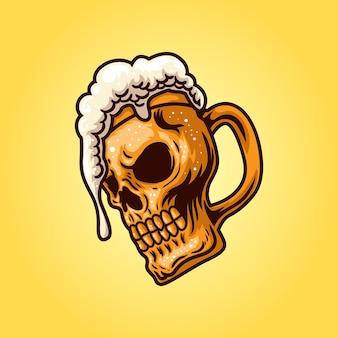 Ilustracja szklanka do piwa z czaszką