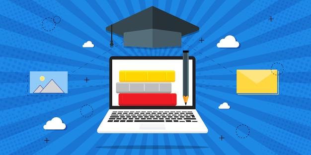 Ilustracja szkolenia, szkolenia online, lekcje online, koncepcja edukacji. książki na niebieskim tle, w stylu retro, pop-art.