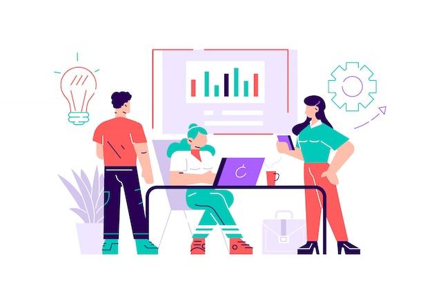 Ilustracja. szkolenie personelu biurowego. zwiększ sprzedaż i umiejętności. myślenie zespołowe i burza mózgów. analiza informacji o firmie. ilustracja nowoczesny styl płaskich na stronie internetowej