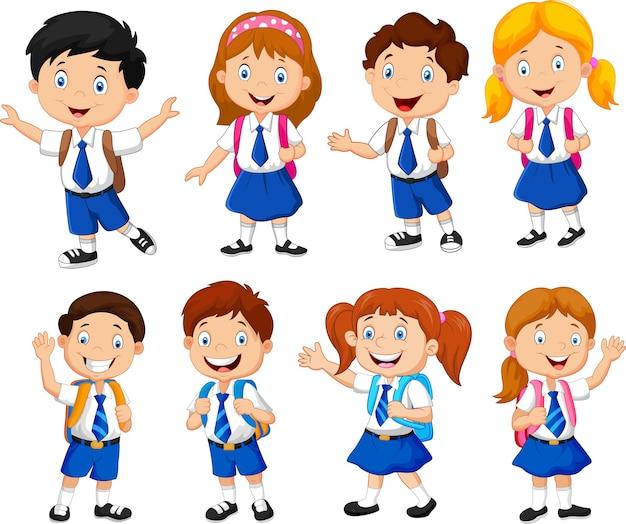 Ilustracja szkolnych dzieci kreskówka