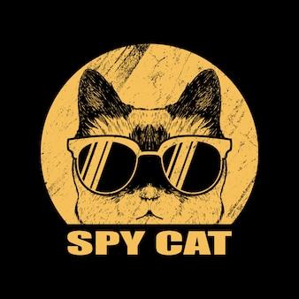 Ilustracja szpieg kot okulary
