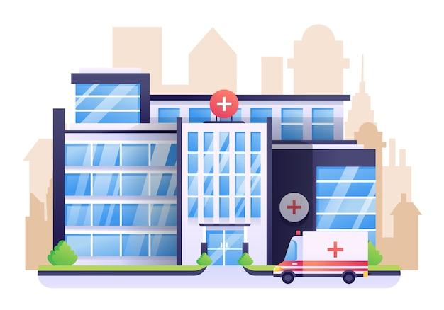 Ilustracja szpitala, budynek służby zdrowia z miastem w tle.