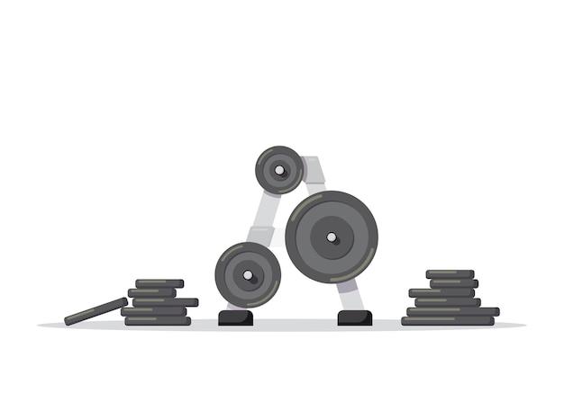 Ilustracja sztangi z dodatkowymi ciężarami na białym tle. wyposażenie siłowni