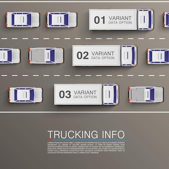 Ilustracja sztuki informacji transportu towarowego. tło wektor